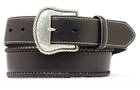 Nocona Black Leather Mens Silver Buckle Belt 56