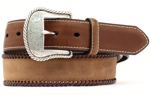 Nocona Medium Brown Leather Mens Laced Conchos Belt 46