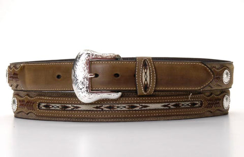 Nocona Light Brown Leather Mens Inlaid Weave Belt