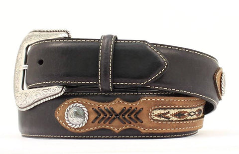 Nocona Black Leather Mens Ribbon Inlay Concho Belt 36