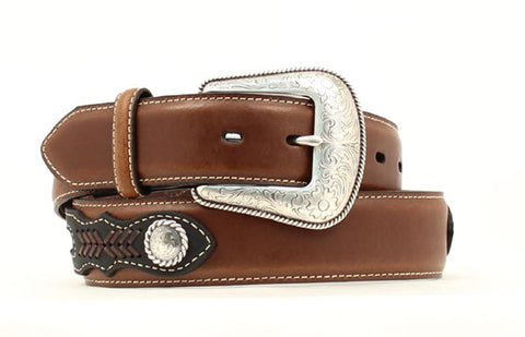 Nocona Medium Brown Leather Mens Overlay Silver Belt 32