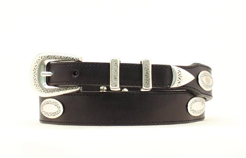 Nocona Black Leather Mens Etched Conchos Belt 38