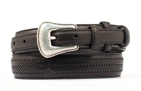 Nocona Black Leather Mens Lacing 1.25in Belt 46