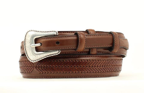 Nocona Brown Leather Mens Lacing 1.25in Belt 40