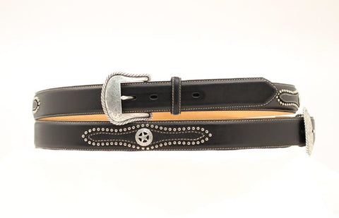 Nocona Black Leather Mens Silver Star Concho Belt 34