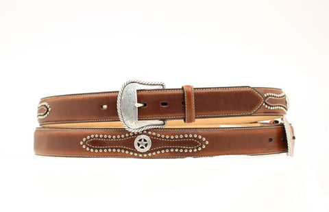 Nocona Brown Leather Mens Silver Star Concho Belt 40