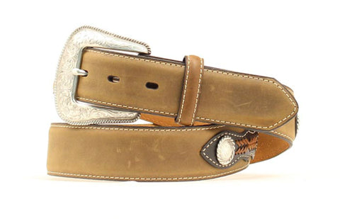 Nocona Medium Brown Leather Mens Tapestry Belt 42