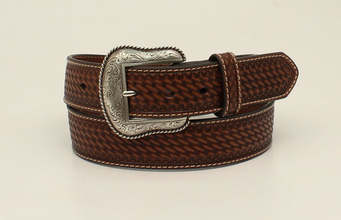 Nocona Brown Leather Mens Rope Edge Weave Belt