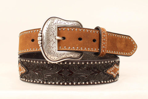 Nocona Brown Leather Mens Lone Star Conchos Belt 34