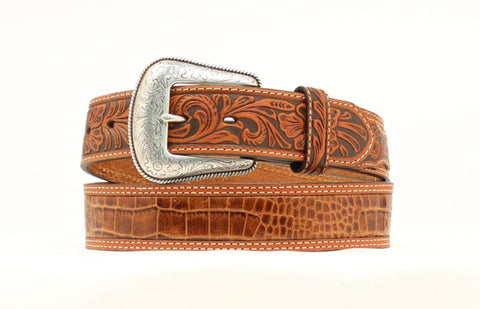 Nocona Tan Leather Mens Faux Croc Tooled Belt 34