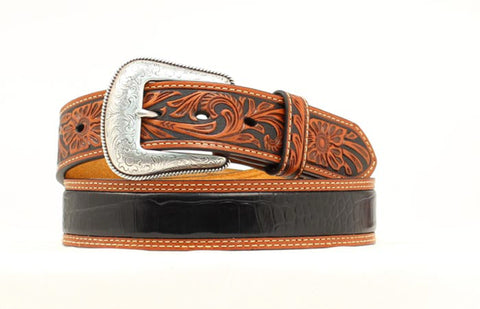 Nocona Black/Tan Leather Mens Croc Print Tooled Belt 38