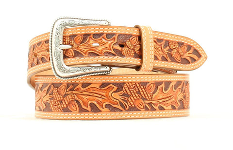 Nocona Natural Leather Mens Embossed Acorn Belt