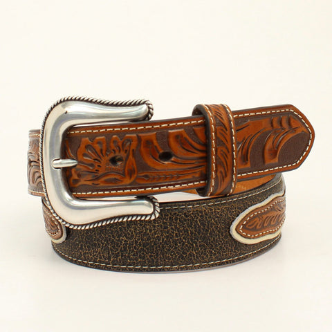 Nocona Tan Leather Mens Cowboy & Horse Belt 32
