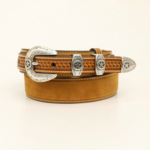 Nocona Medium Brown Leather Mens Lone Star Concho Belt 42