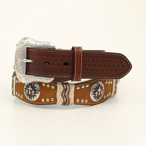 Nocona Brown Leather Mens Cross Conchos Scallop Belt 38