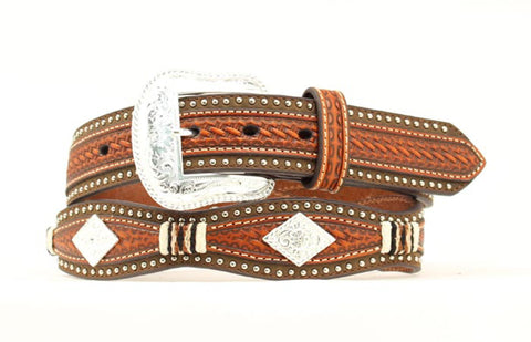 Nocona Tan Leather Mens Weave Overlay Belt