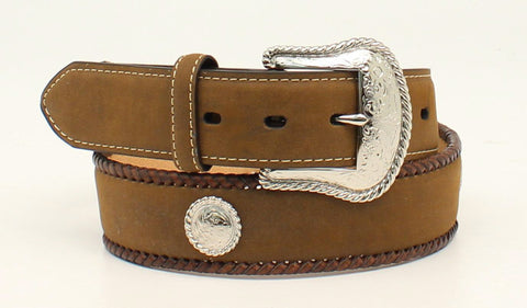 Nocona Medium Brown Leather Mens Edge Lacing Belt 42