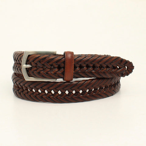 Nocona Brown Leather Mens Hired Hand Woven Belt 40