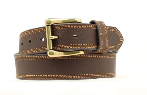 Nocona Brown Leather Mens Xtreme Stitch Belt 52