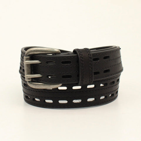 Nocona Black Leather Mens Xtreme Pierced Belt 52