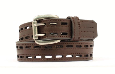 Nocona Brown Leather Mens Xtreme Pierced Belt