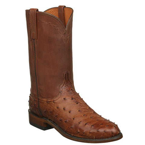 Lucchese Mens Cowboy Boots Barnwood Full Quill Ostrich