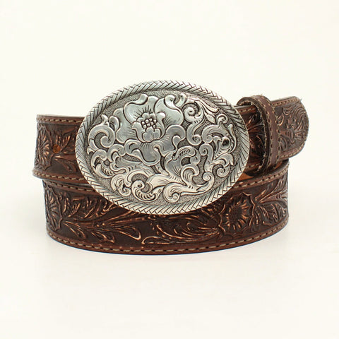 Nocona Brown Leather Womens Belle Forche Floral Belt