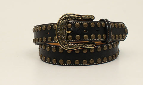 Nocona Black Leather Womens Arrow Nailhead Belt