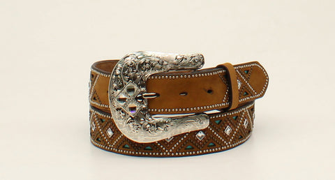 Nocona Medium Brown Leather Womens Turquoise Belt XL