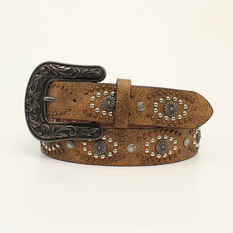 Nocona Brown Leather Womens Starburst Distressed Belt