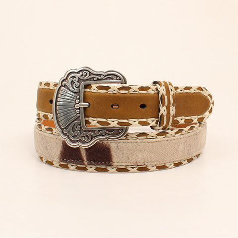 Nocona Brown/White Leather Womens Cowhide Print Belt