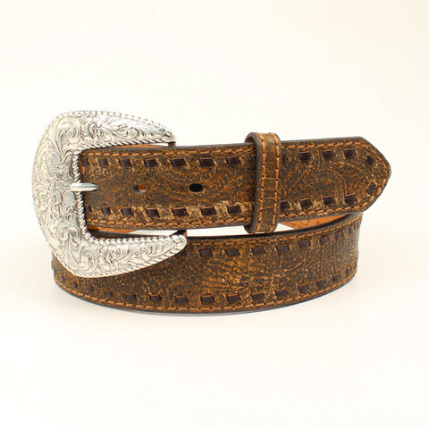 Nocona Brown Leather Womens Buck Lace Belt