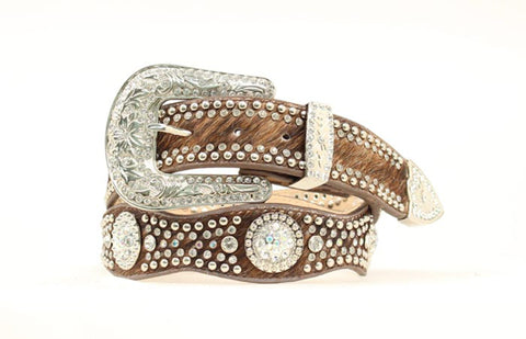 Nocona Brown Leather Womens Croc Print Scallop Belt