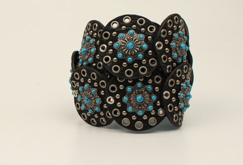 Nocona Black Leather Womens Copper Conchos Belt