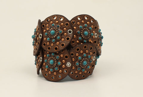 Nocona Brown Leather Womens Copper Conchos Belt