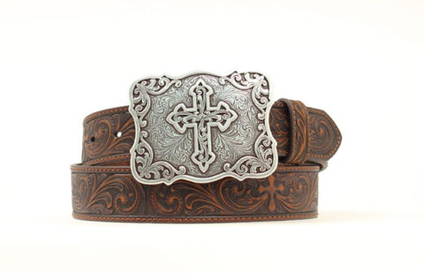 Nocona Brown Leather Womens Fancy Tooled Belt