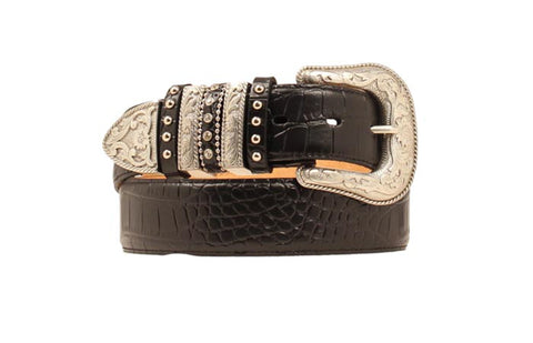 Nocona Black Leather Womens Croc Print Engraved Belt XL