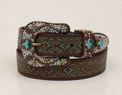Nocona Brown Leather Womens Embossed Turquoise Belt