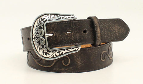 Nocona Black Leather Womens Raised Scroll Belt