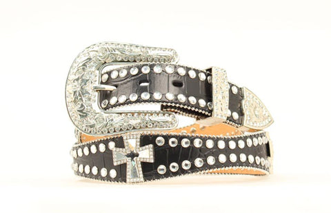 Blazin Roxx Black Leather Womens Croc Rhinestones Belt