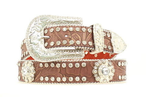 Blazin Roxx Brown Leather Womens Crystal Conchos Belt