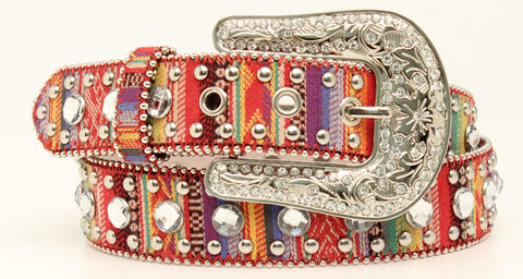 Blazin Roxx Multi-Color Fabric Womens Stripes Rhinestones Belt M