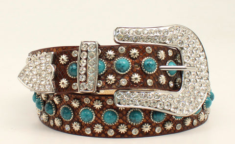 Blazin Roxx Brown Leather Womens Faux Snake Starburst Belt