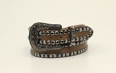 Blazin Roxx Brown Leather Womens Black Rhinestone Belt