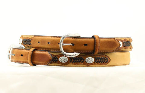 Nocona Medium Brown Leather Boys Black Lacing Belt 28