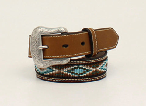 Nocona Brown Leather Boys Diamond Belt 24