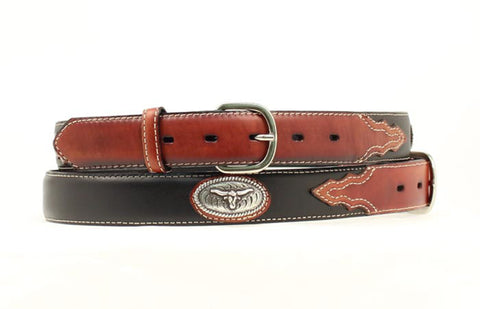 Nocona Black Leather Boys Steer Head Conchos Belt