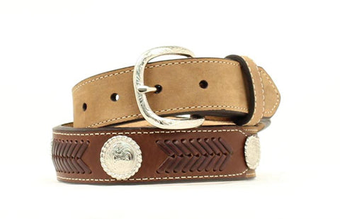 Nocona Medium Brown Leather Boys Arrow Stitch Belt 26