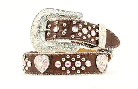 Nocona Brown Leather Girls Heart Conchos Belt
