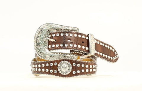 Nocona Brown Leather Girls Faux Croc Belt